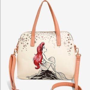 LOUNGEFLY THE LITTLE MERMAID ROSE GOLD SATCHEL BAG